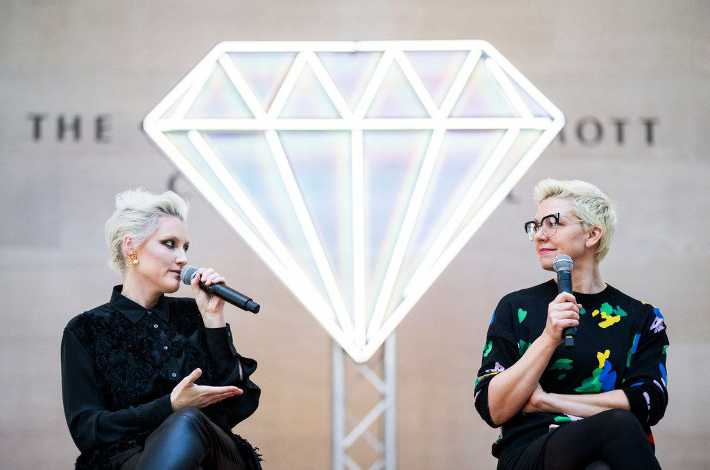 """Musician Sarah Jaffe, left, and artist Jen Ray speak at a Q&A after a pop-up performance entitled """"Eyes as Bright as Diamonds"""" to kick off the Soluna International Music & Arts Festival on Wednesday, April 11, 2018 at the Morton H. Meyerson Symphony Center in Dallas. The performance brings together New York artist Jen Ray, musician Sarah Jaffe and several Dallas performers. (Ashley Landis/The Dallas Morning News)"""