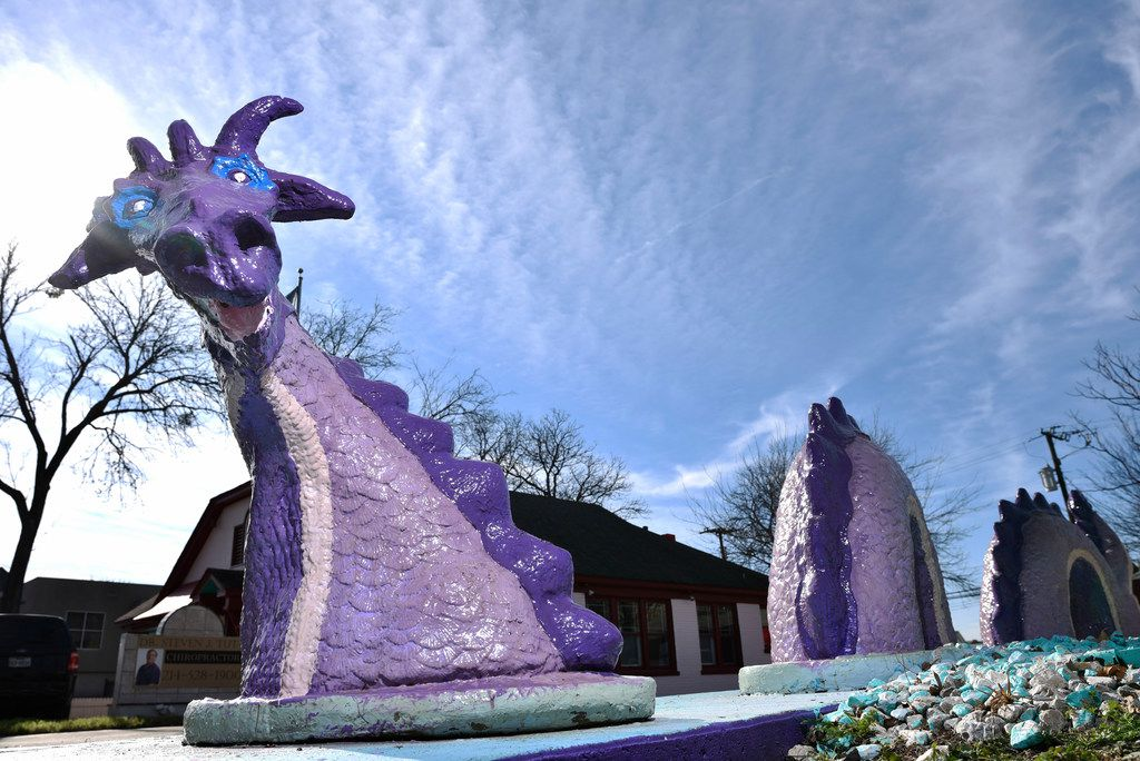 Dr. Steven Tutt's dragons outside of his office at Cedar Springs Chiropractic in Dallas, Jan. 28, 2019.
