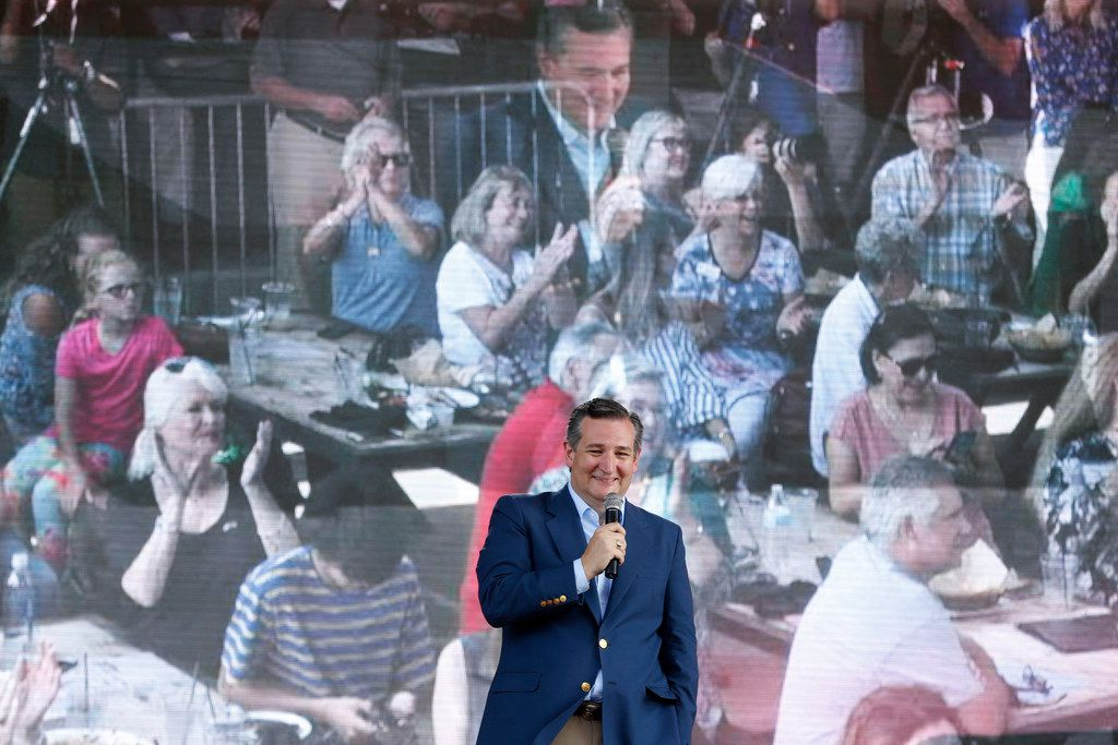 Sen. Ted Cruz gives an election speech at Lava Cantina in The Colony, Texas, on Aug. 27, 2018.