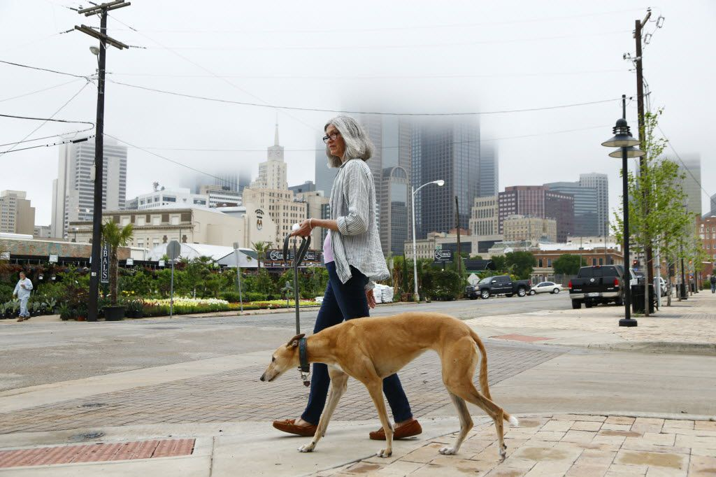 Tsuki Brooks, a jewelry maker, who recently bought a townhouse in the Farmers Market neighborhood, walks her dog Aziz through the area in Dallas.