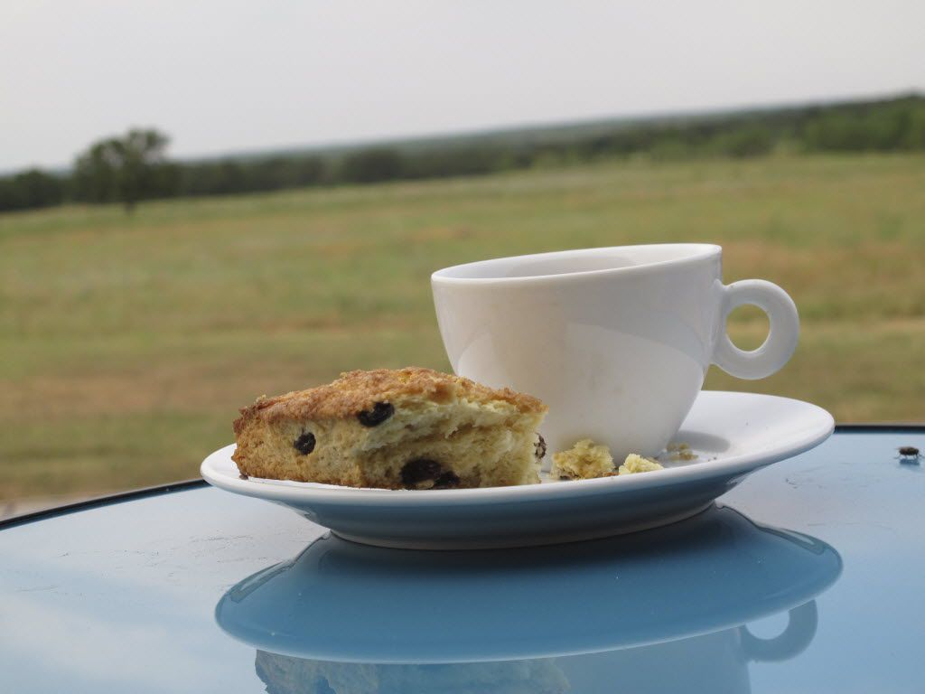 Coffee and scones on the deck at Rancho Loma.
