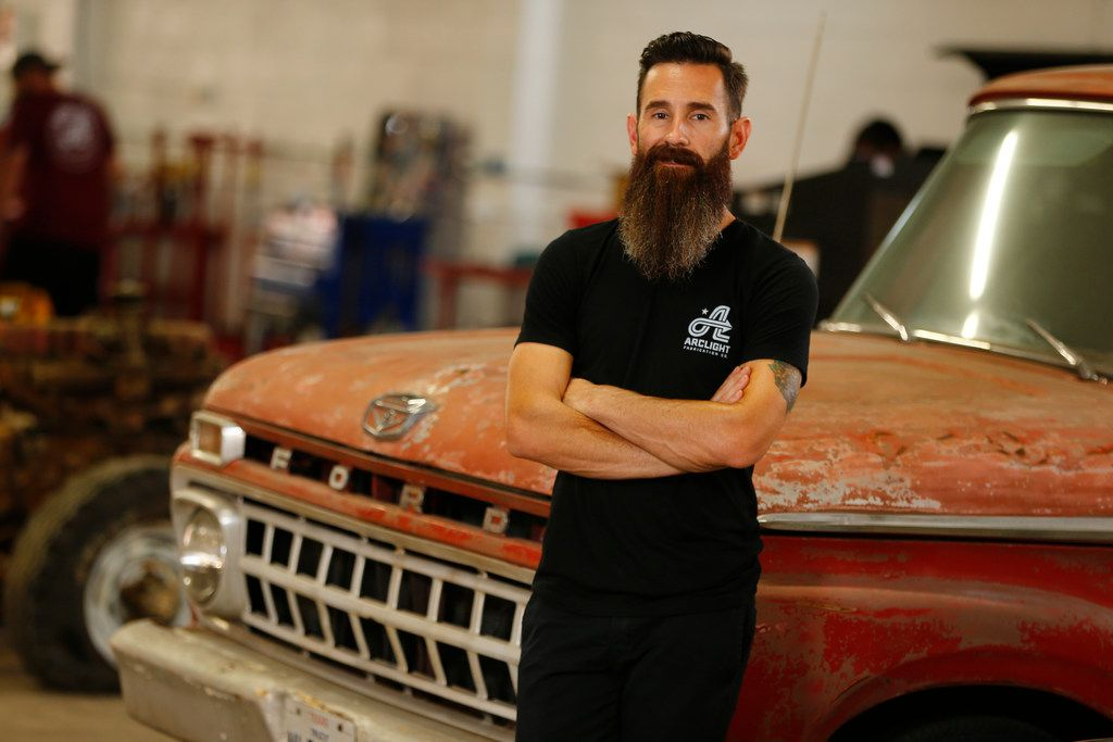 Aaron Kaufman's poses for a portrait in his new shop, ArcLight Fab, restoring Ford trucks in Dallas on Sept. 26, 2017.