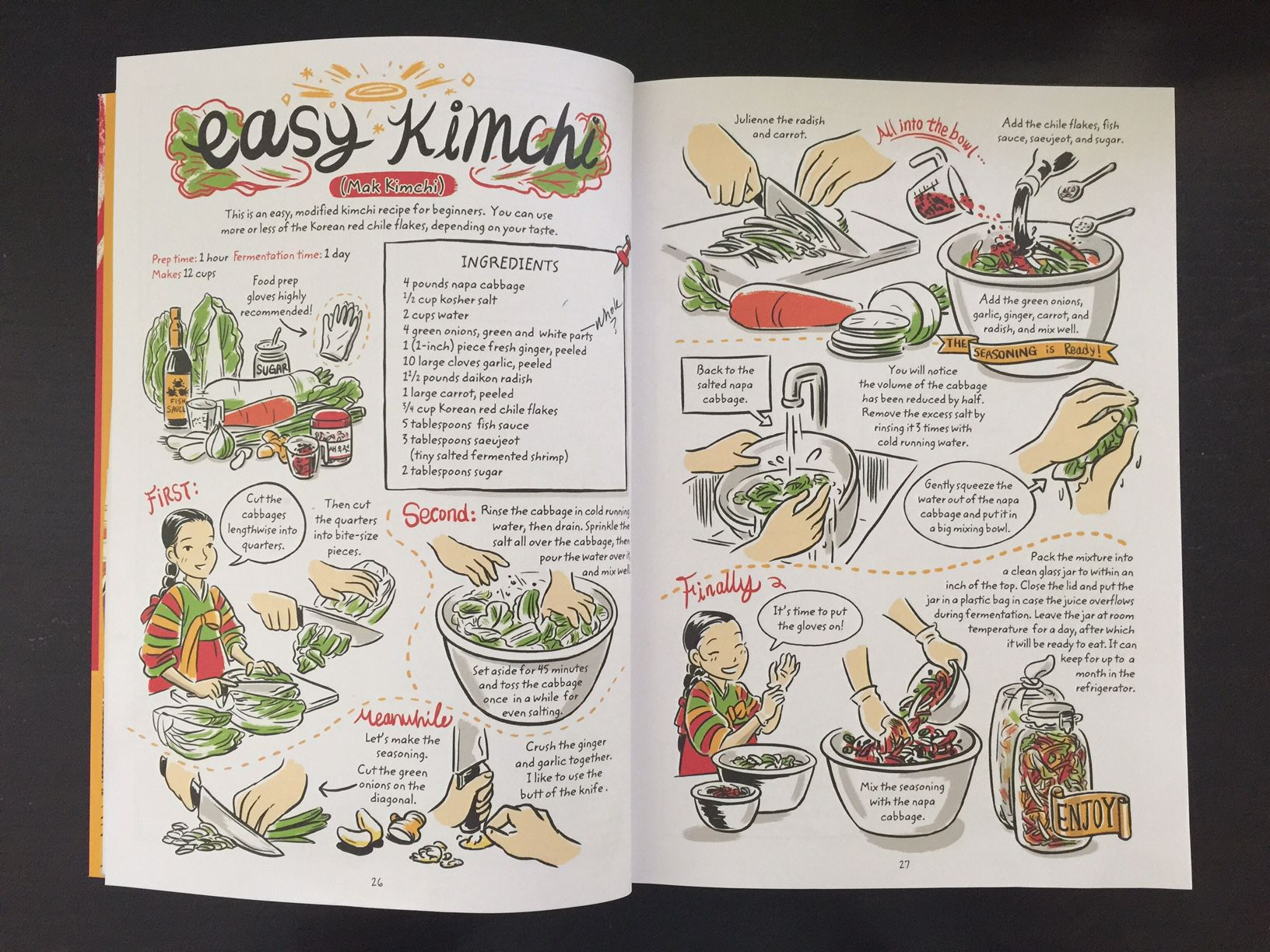 "A page spread from Robin Ha's ""Cook Korean!: A Comic Book with Recipes."" (Leslie Brenner/Staff)"