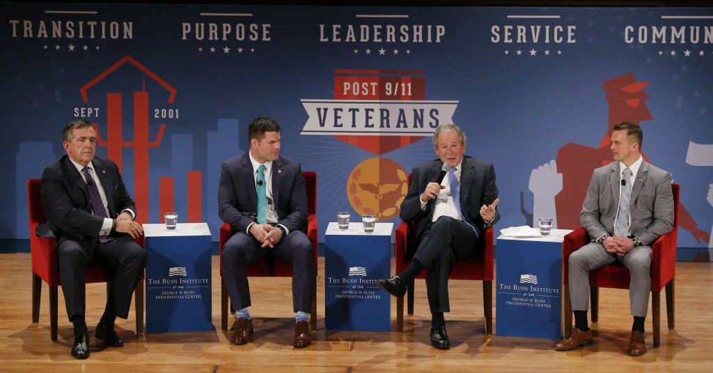 Retired Gen. Peter Chiarelli  (left) and Marine Corps veterans Brian Stann and David J. Smith talk to former President George W. Bush during The Military Service Initiative Summit at the Bush Institute in Dallas Feb. 18, 2015. Nathan Hunsinger/The Dallas Morning News)