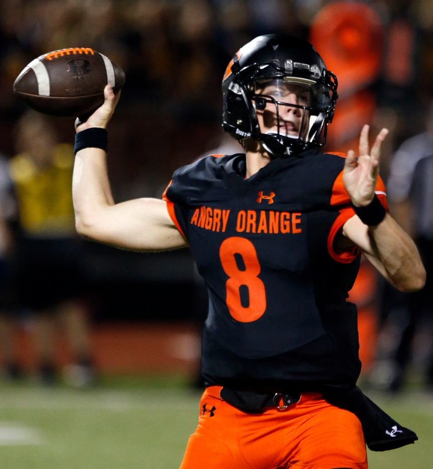 Rockwall High quarterback Braedyn Locke (8) throws a pass during the first half of their high school football game against  Highland Park at Wilkerson-Sanders Stadium in Rockwall on Friday, August 30, 2019. (John F. Rhodes / Special Contributor)