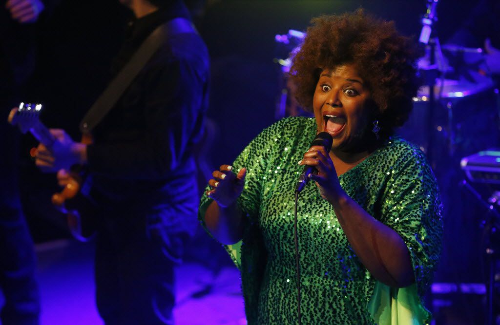 Singer Kam Franklin led the Suffers through a triumphant set at the Kessler on Friday. (Andy Jacobsohn/The Dallas Morning News)