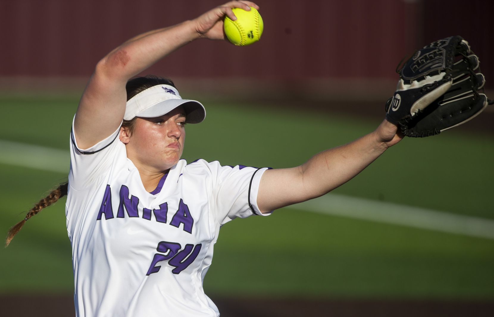 Anna's Hannah Howell pitches during a Class 4A Region II semifinal softball series at the Panther Softball field in Princeton, Texas on Thursday, May 16, 2019.  (Shaban Athuman/Staff Photographer)