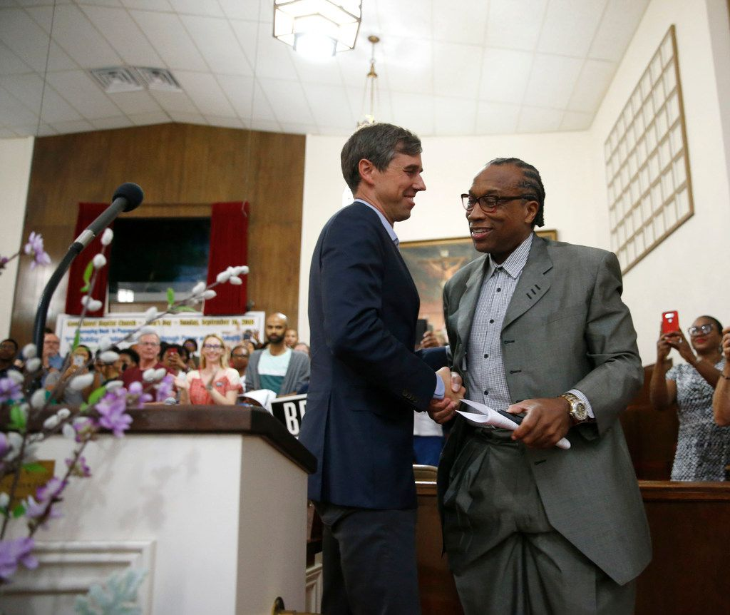 Dallas County Commissioner John Wiley price shakes hands with Beto O'Rourke before giving a speech to the crowd during the South Dallas with Beto! event at Good Street Baptist Church in Dallas on Sept. 14, 2018.  (Nathan Hunsinger/The Dallas Morning News)