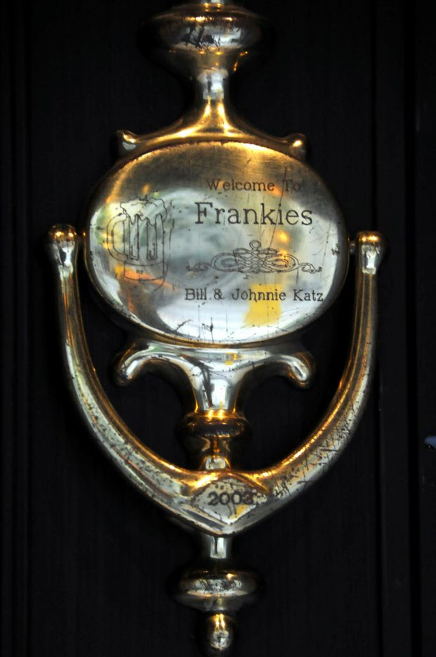 Owners Bill and Johnnie Katz welcome guests with a custom door knocker at Frankie's Downtown.