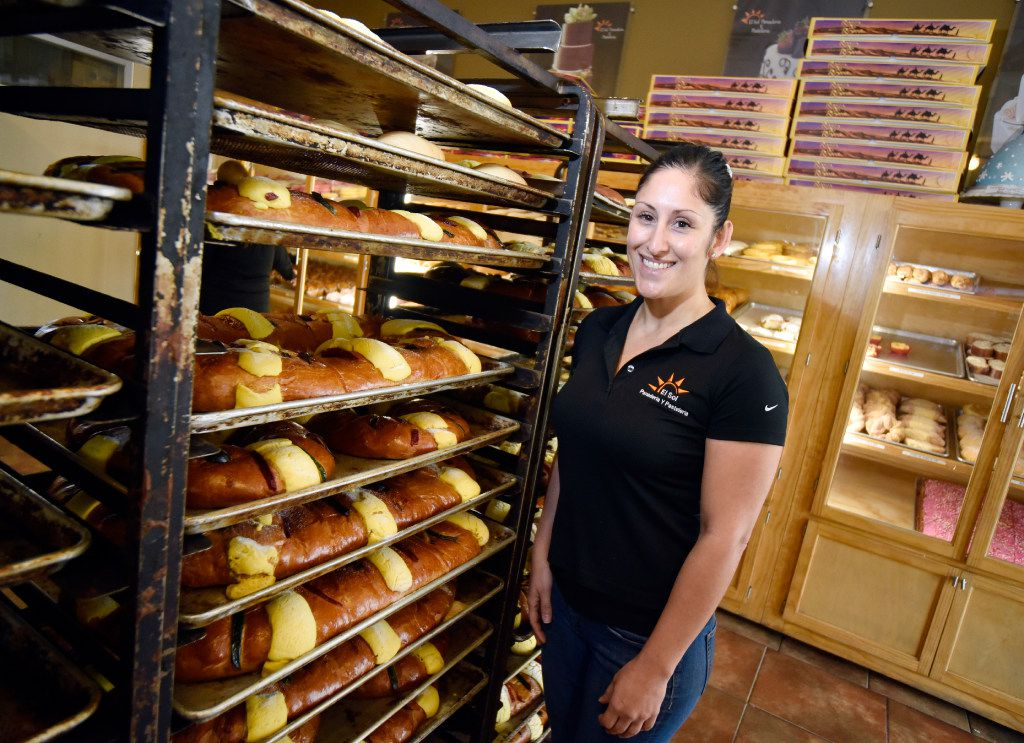 "Odette Orduñ€""o, owner and manager of El Sol Panadeíia, and some of the hundreds of rosca de reyes that the bakery has sold for Epiphany. According to Catholic tradition, the date commemorates the visit of the three wise men to Jesus after his birth. (Ben Torres/Special Contributor)"