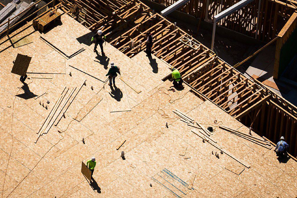 Construction on apartments in the Palisades Central project in Richardson is seen in an aerial view Thursday, March 23, 2017, in Richardson, TX. Laura Jordan, the city's ex-mayor, is on trial for allegedly selling her vote on the project for gifts and other benefits from the developer.