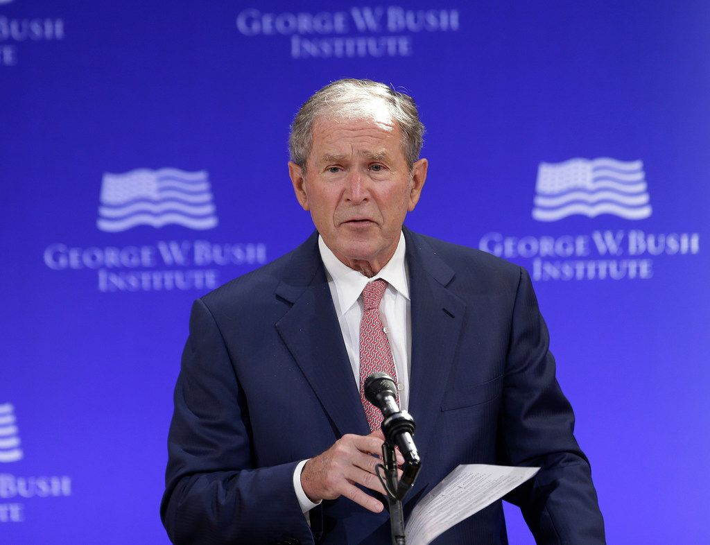 Former President George W. Bush spoke at a forum sponsored by the George W. Bush Institute in New York on Thursday. (Seth Wenig/The Associated Press)