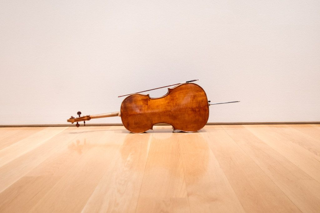 A cello belonging to the Parker Quartet sits outside a rehearsal room during intermission of the quartet's performance at 'Soundings: New Music at the Nasher' in 2016 at the Nasher Sculpture Center in Dallas.