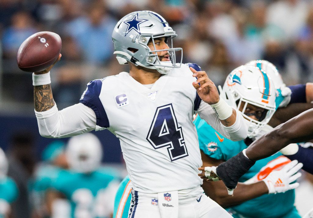 Dallas Cowboys quarterback Dak Prescott (4) makes a pass during the first quarter of an NFL game between the Miami Dolphins and the Dallas Cowboys on Sunday, September 22, 2019 at AT&T Stadium in Arlington, Texas.