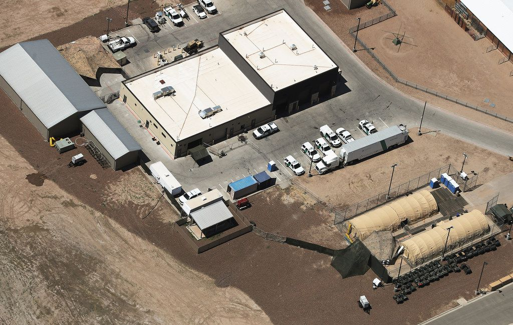 An aerial view of the U.S. Customs and Border Protection's Carrizo Springs facility, where attorneys reported that detained migrant children had been held in disturbing conditions.