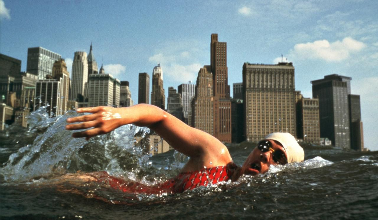 """Diana Nyad breaking the 48-year-old record for circling Manhattan Island in 1975. She did the swim in 7 hours, 57 minutes. From """"Find a Way,"""" by Diana Nyad."""
