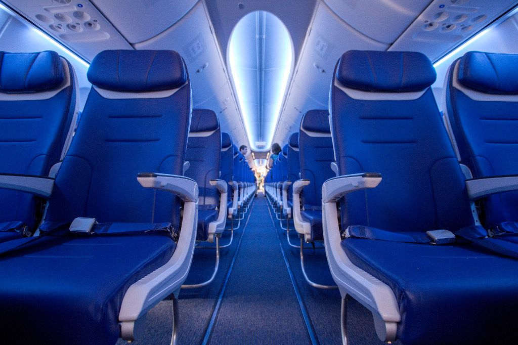 The cabin area of one of Southwest Airline's Boeing 737 MAX jetliners