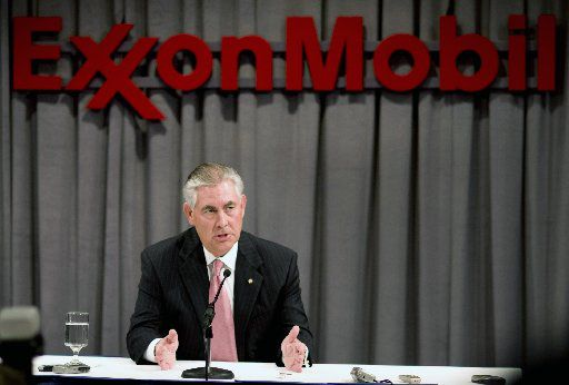 ORG XMIT: *S0423348659* Rex Tillerson, chairman and chief executive officer of Exxon Mobil Corp., speaks during a news conference following Exxon's annual shareholders meeting at the Morton H. Meyerson Symphony Center in Dallas, Texas, U.S., on Wednesday, May 28, 2008. Exxon Mobil Corp. shareholders rejected resolutions calling on the world's largest company to bar its chief executive officer from serving as chairman and adopt greenhouse-gas reduction targets. Photographer: Matt Nager/Bloomberg News  05292008xQUICK
