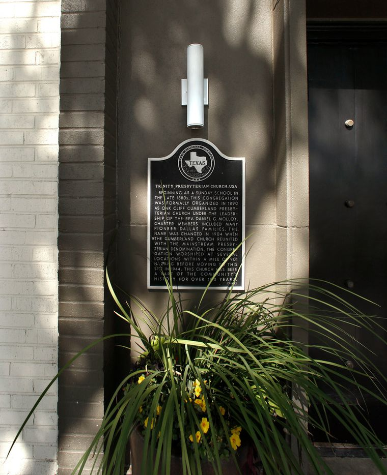The historical marker explaing the history of the Trinity Presbyterian church remains at the front entrance at CHIJMES, a boutique hotel and event venue on Zang Blvd in Dallas Wednesday, August 15, 2018. (Guy Reynolds/The Dallas Morning News)