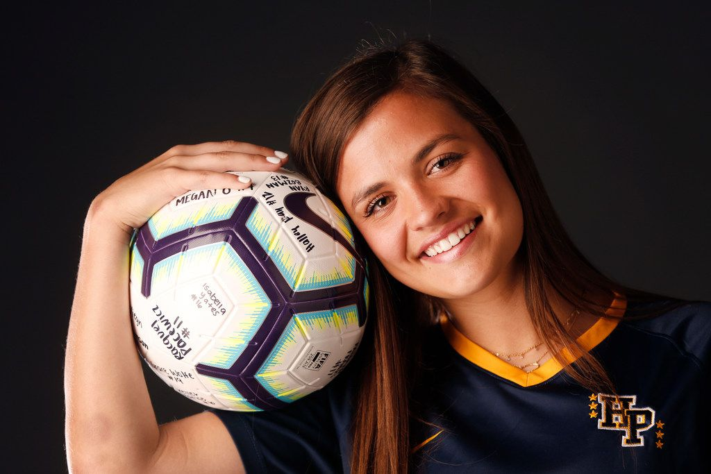 Highland Park soccer player Presley Echols poses for a photograph in The Dallas Morning News photo studio on Wednesday, May 1, 2019. (Rose Baca/Staff Photographer)