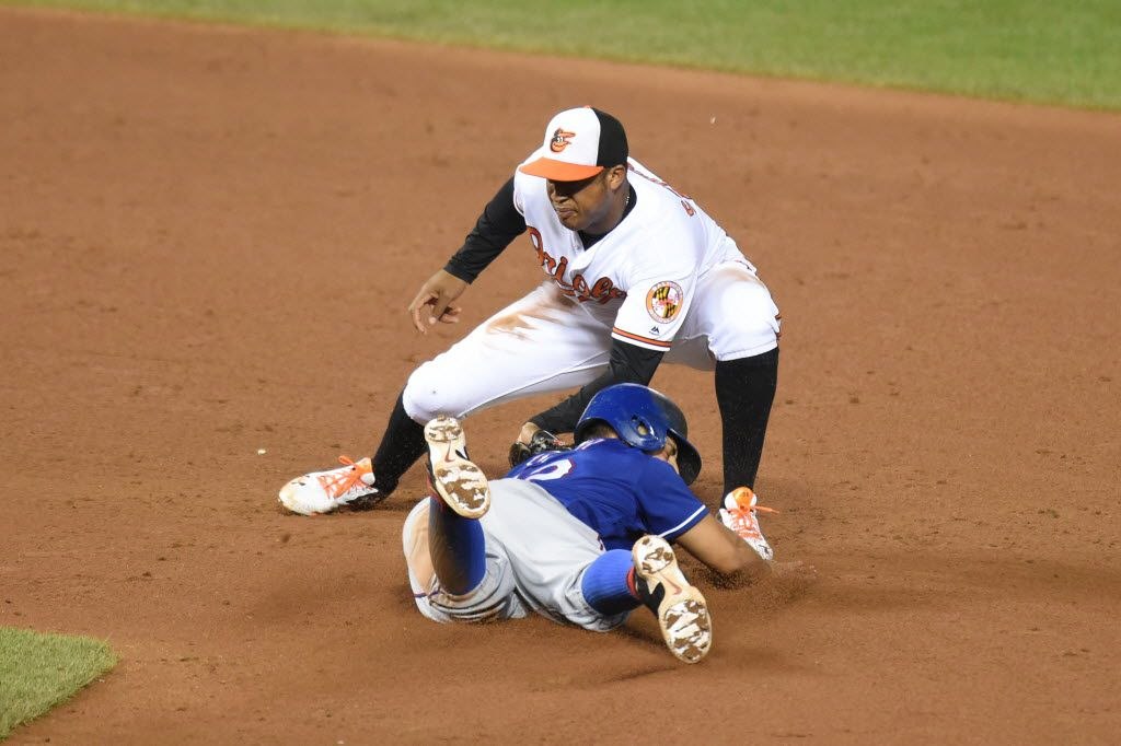 BALTIMORE, MD - AUGUST 03:  Jonathan Schoop #6 of the Baltimore Orioles tags out Rougned Odor #12 of the Texas Rangers trying to steal second base in the ninth inning during a baseball game at Oriole Park at Camden Yards on August 3, 2016 in Baltimore, Maryland.  The Orioles won 3-2.  (Photo by Mitchell Layton/Getty Images)
