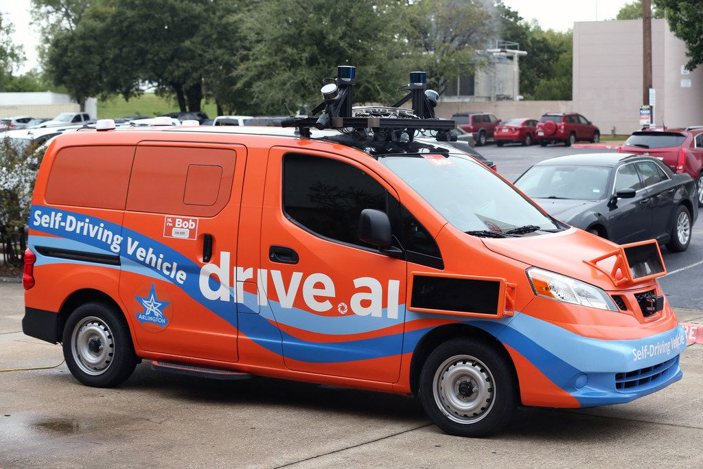 A Drive.ai self-driving vehicle at the company's media showing in Arlington on Thursday, October 18, 2018. The general public will be able to use the service for free starting tomorrow. (Daniel Carde/The Dallas Morning News)