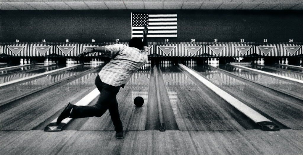 Charlie McPhee took a shot in the Bronco Bowl's lanes in 1990.