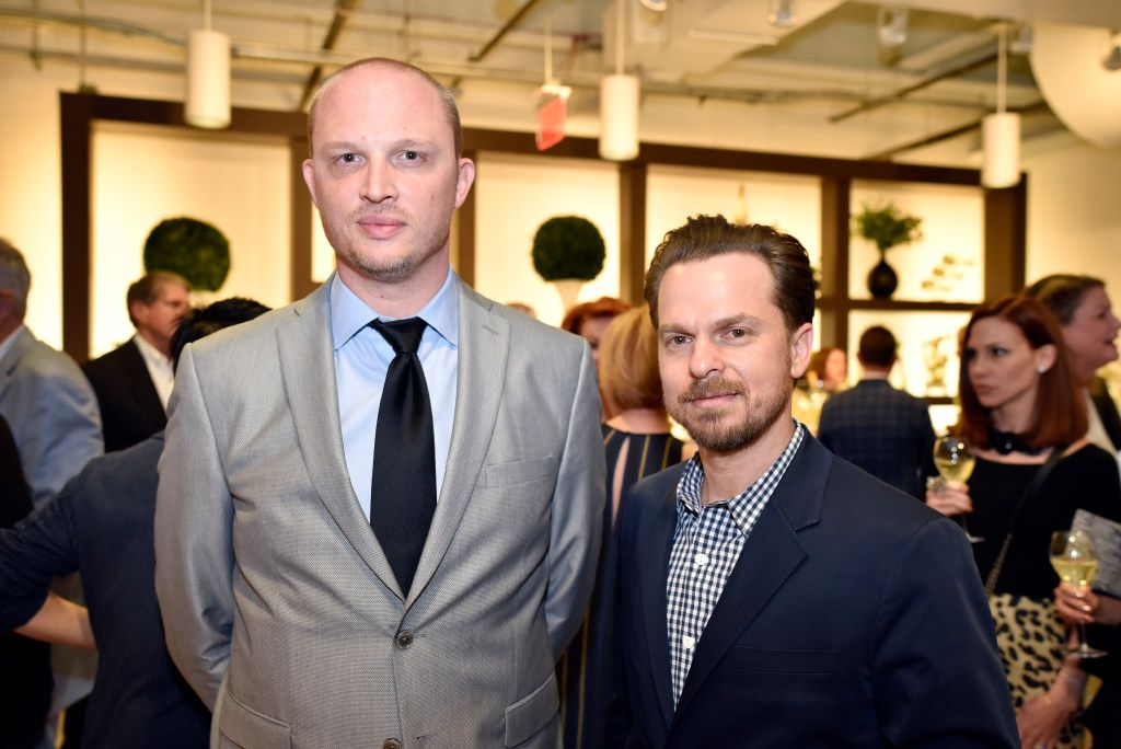 Interior designer Joshua Rice (left) and Chris Thurman, owner of Sputnik Modern, during the Preview Gala of the ninth annual Dallas Art Fair. (Ben Torres/Special Contributor)