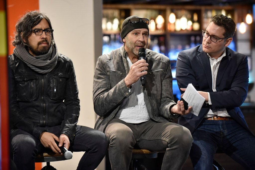 Peruvian artist Rudolph Castro (from left) took part in a panel discussion with Cuban artist Rolando Diaz and Oak Cliff artist and City Council candidate Giovanni Valderas at Mercado 369 in Dallas on Jan. 12.