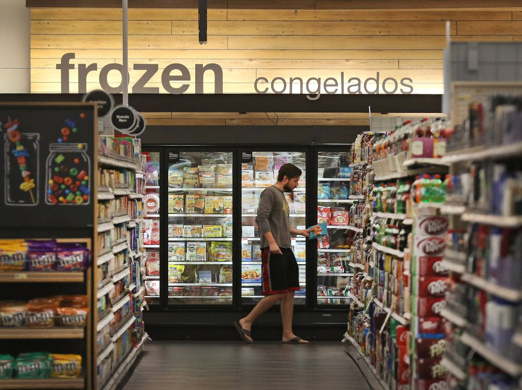 The grocery area sports a clean, sleek look after the remodel at the Target store at Coit and Campbell in north Dallas, photographed on Tuesday, June13, 2017. (Louis DeLuca/The Dallas Morning News)