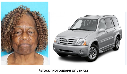 Authorities say Pearl Matthews was last seen Wednesday afternoon in Buckner Terrace. She was driving a gray 2006 Suzuki XL7.