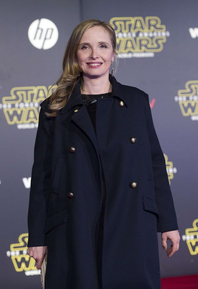"""Actress/director Julie Delpy attends the World Premiere of """"Star Wars: The Force Awakens"""", in Hollywood, California, on December 14, 2015."""