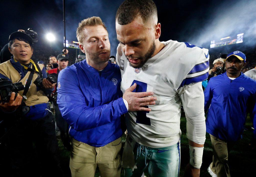 Dallas Cowboys quarterback Dak Prescott (4) is comforted by Los Angeles Rams head coach Sean McVay after their NFC Divisional Playoff loss at Los Angeles Memorial Coliseum in Los Angeles, Saturday, January 12, 2019. Tye Cowboys lost 30-22. (Tom Fox/The Dallas Morning News)