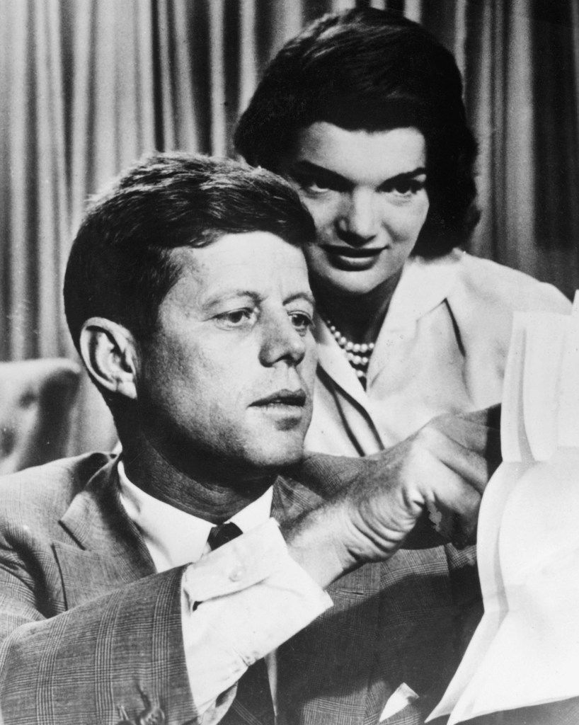 This file photo from the 1950s shows John F. Kennedy with his wife, Jacqueline Bouvier Kennedy.