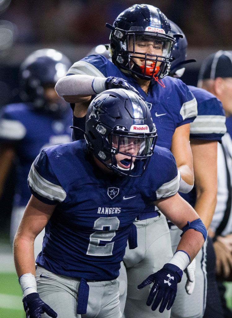 Frisco Lone Star wide receiver Jake Bogdon (2) celebrates a touchdown during the second quarter of a District 5-5A Division I high school football game between Frisco Independence and Frisco Lone Star on Thursday, October 10, 2019 at the Ford Center at The Star in Frisco. (Ashley Landis/The Dallas Morning News)