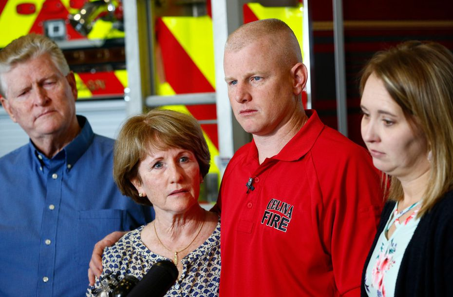 Tommy Needum, father, (from left) Julie Needum mother, Andrew Needum and his wife Stephanie Needum talk about their experience on Southwest Airlines Flight 1380 to the media at Celina City Fire Department on April 19, 2018.