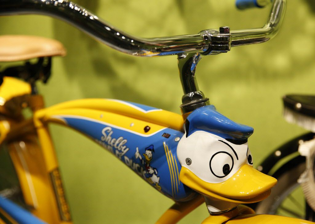 1950 Shelby Donald Duck bicycle, part of the Eye of the Collector exhibit at the Perot Museum of Nature and Science in Dallas on April 14, 2016.