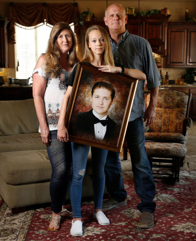 Cathy and Mark Speed lost their 18-year-old son Braden to suicide in October. They are pictured with their 12-year-old daughter, Caitlin, in their Prosper home.