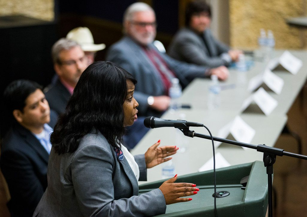 Gubernatorial candidate Demetria Smith speaks during a democratic gubernatorial candidate forum hosted by Tom Green County Democratic Club on Monday, January 8, 2018 at the San Angelo Museum of Fine Arts in San Angelo, Texas. Each of 10 candidates was allowed five minutes to speak. (Ashley Landis/The Dallas Morning News)