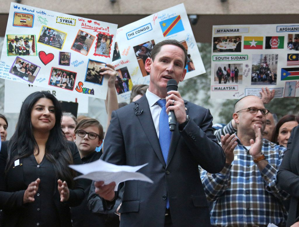 Dallas County Judge Clay Jenkins addresses a crowd  during the interfaith vigil to support refugee resettlement in Texas and denounce the Trump administration's executive action on refugee resettlement. photographed at Thanksgiving Square in Dallas on Monday, January 30, 2017. (Louis DeLuca/The Dallas Morning News)