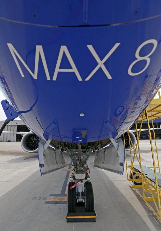 A landing gear of a Southwest Airlines' new plane, the 737 Max, at headquarters in Dallas.