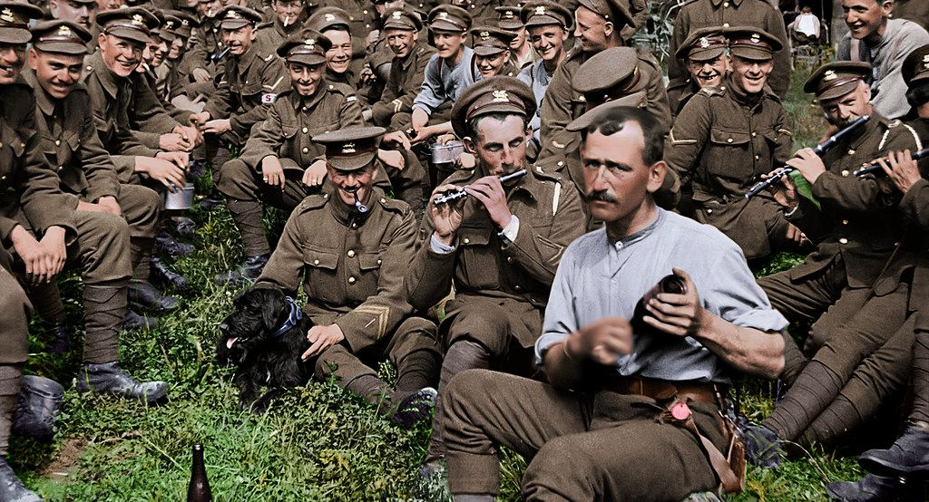 Aa scene from the WWI documentary They Shall Not Grow Old, directed by Peter Jackson.