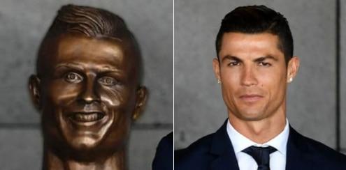El busto en su honor y el futbolista Cristiano Ronaldo, en Madeira, Portugal. Fotos AP