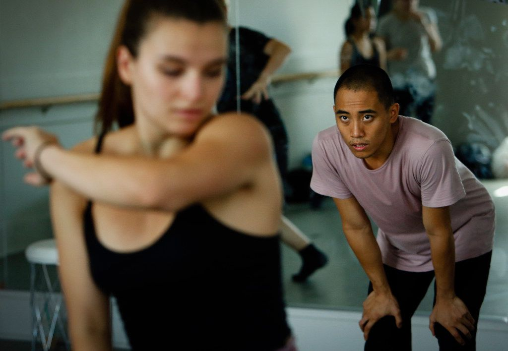 Kevin Pajarillaga directs dancers during a rehearsal at KJ Dance in Frisco  on Saturday, July 29, 2017. (Tailyr Irvine/The Dallas Morning News)