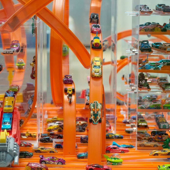 Hot Wheels made by Mattel are pictured at the Nuremberg International Toy Fair (Nuernberger Spielwarenmesse) on January 29, 2014.