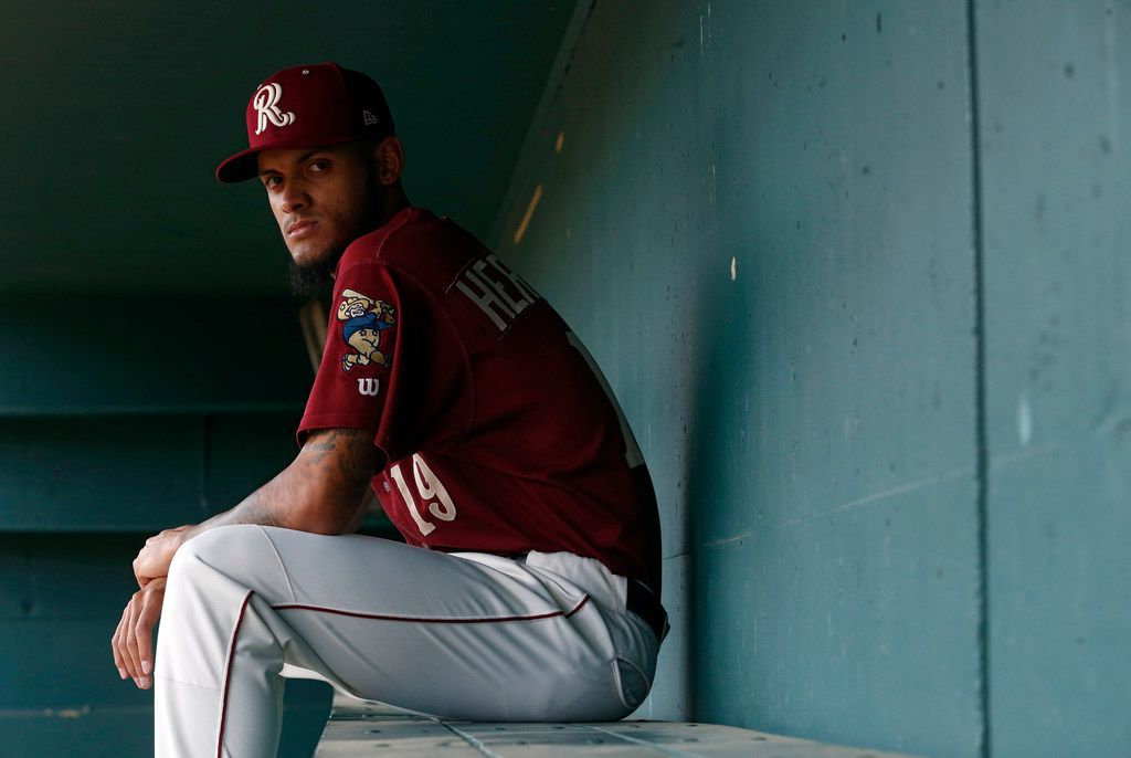 Frisco RoughRiders pitcher Jonathan Hernandez (19) poses for a portrait during Frisco RoughRiders media day at Dr Pepper Ballpark in Frisco, Texas on Tuesday, April 2, 2019. (Vernon Bryant/The Dallas Morning News)