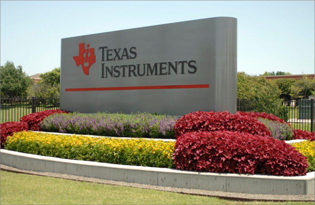 An entrance at Texas Instruments main campus in Dallas.