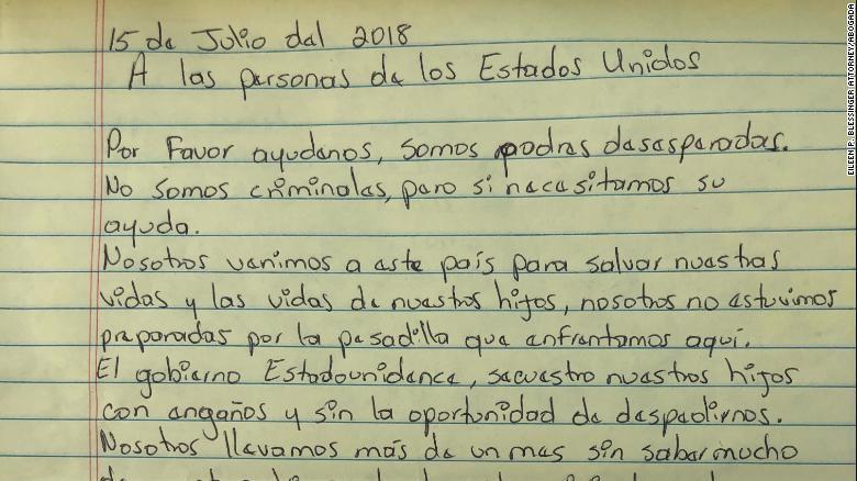 Apartes de la carta que los padres inmigrantes detenidos escribieron al pueblo estadounidense. Foto: Twitter abogada Eileen Blessinger.