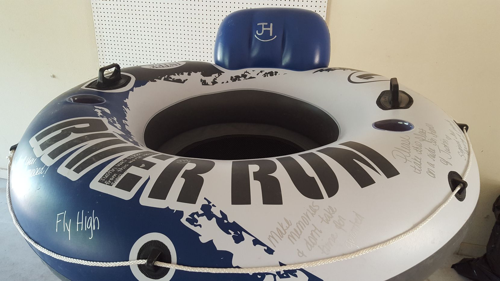 This is the tube that Bellville mom Tracy Corum released on the Guadalupe River to float in honor of her son, Justin Hernandez.