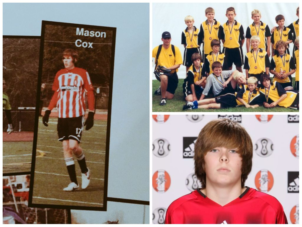 Mason Cox was a standout on the 2008 Flower Mound Marcus UIL Class 5A championship team. He played soccer as a kid, too. In the photo in the top right, he is second from the left among youngsters in the back row.